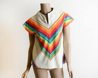 Vintage 1950s Rainbow Blouse Shirt - Mexican Serape Style Vivid Festive Chevron Striped Top - Small Medium