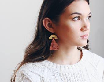 Half Moon Tassel Earrings | Half Moon Earrings | Pink Earrings | Boho Earrings | Tassel Jewelry | Brass Earrings | Sterling Silver
