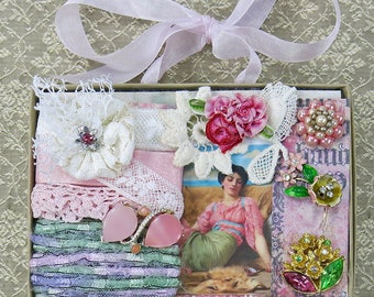 Pink Embellishment Inspiration Kit 84, Series 2 ... Vintage elements for crazy quilting, collage, journals, fabric art books