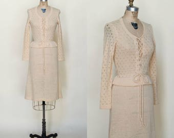 1970s Crochetta Dress --- Vintage Cream Bohemian Dress
