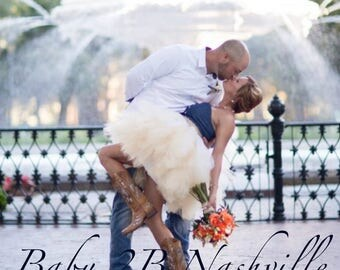 Above the Knee Ruffled Wedding Tulle Skirt in Champagne Adult Tutu in Ivory Nude and White Ombre