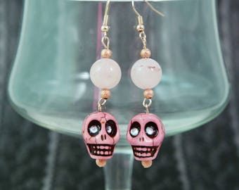 PRETTY in PINK SKULLS - Soft Pink Skulls and glass Bead Earrings