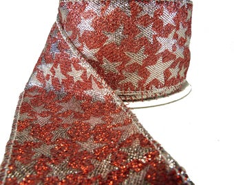 """3 Rolls Of Silver Stars On Sparkly Red Lame Wired Ribbon  2.5"""" Wide"""