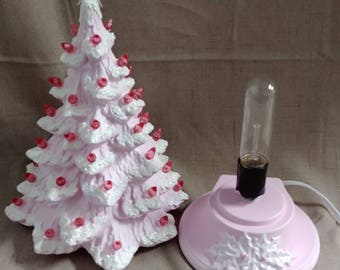 "Ceramic Christmas Tree Lighted 14"" Nowell Vintage Mold - Pink Flocked - Star"