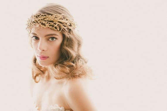 Golden bridal headpiece, Gold or silver wedding crown, Bridal head piece, Gold branch headdress, Golden woodland, Winter bride crown