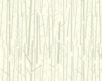 Perch in Cream Western Birds Organic Cotton Fabric Birch