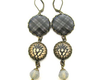 Scottish Tartan Jewelry - Drummond Gray Clan Tartan Earrings w/Luckenbooth Charms & Sand Opal Swarovski Crystals