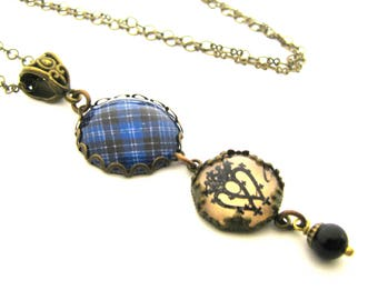 Scottish Tartan Jewelry - Ancient Romance Series - Clark Necklace w/Luckenbooth Charm and Mystic BLack Swarovski Crystal Pearl