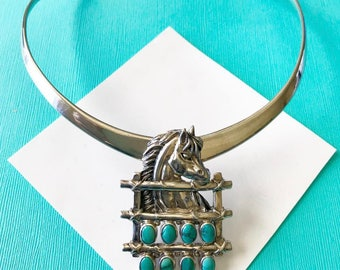 Mexican Taxco Sterling Silver Choker with Turquoise and Sterling Horse Pendant