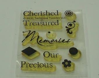 Mini Clear Unmounted Rubber Stamp Set 11 Pieces Flower, Filigree, Swirl, Memories, Treasured, Precious, Cherished,