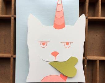 letterpress Caticorn die cut gift card