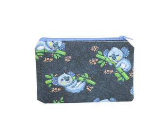 CHOOSE SIZE Koala & Bamboo Zipper Pouch / Cute Marsupials Camera Bag on Blue / Make Up or Coin Pouch