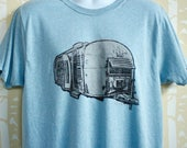 MEN'S Airstream Tee in 100% recycled poly/cotton in ice blue or cinder black, hand printed, choose your size and color