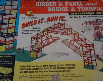 1960 Kenner Girder & Panel and Bridge, Turnpike Building Set, Hydro-Dynamic, Mid Century Architecture, Construction, Engineering, Motorized