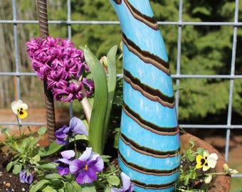 NEW ITEM! Baby Blue Glass Sea Cucumber With Tiger Striped Design Garden Art Sculpture Outdoor Decoration