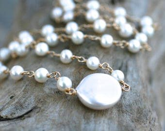 Large White Coin Freshwater Pearl, 14KT Gold Filled Wire Wrapped Pearl Necklace, White Pearl Necklace, Gold, Pearl Jewelry, June Birthstone