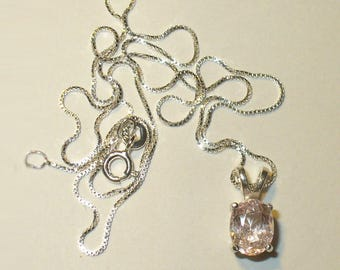 Morganite Pendant Necklace in Sterling Silver ~ Genuine, Natural,  Mined-from-Earth Pink Gemstone ~ Pink Emerald