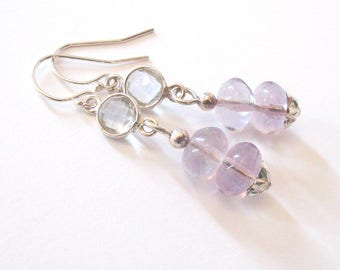 Lavender Purple Fluorite Earrings with Faceted Quartz, Sterling Silver Drop Earrings, Flower Motif