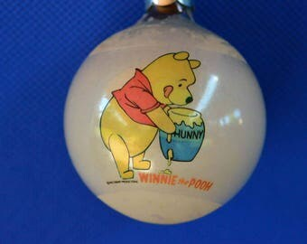 Winnie the Pooh Christmas Ornament - Walt Disney Productions - Glass Globe/Ball Ornament Cello Wrapped - Made In USA