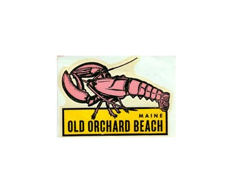 Vintage Decal - Old Orchard Beach - 70s Decal - State Decal - Lobster - 70s Old Orchard Beach - 70s Maine Decal - OOB - 70s Maine Souvenir