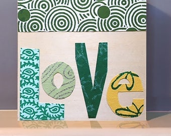 "Paper cut-out ""LOVE"" in sweet green colors and patterns. Wooden Wall Art.  Positive inspiration.  Inspirational gift."
