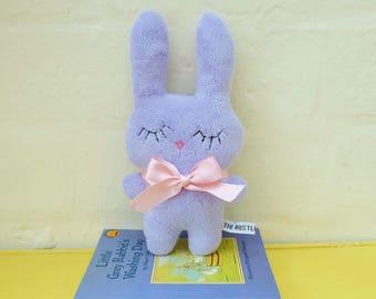 Sweet Lilac Bunny Plush, a Little Lilac Rabbit Soft Toy, Handmade Purple Bunny Rabbit