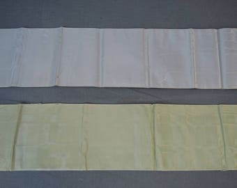 2 Edwardian Silk Wide Ribbons, Antique 1900s Watered Silk Vintage Remnants, 3+ yards each
