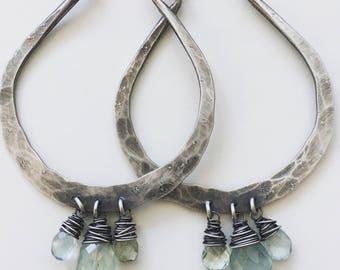 Sterling Silver Hoop Earrings Large Hoops Hammered Hoop Earrings Silver Hoops DanielleRoseBean Big Hoop Earrings Aquamarine Earrings