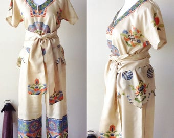 Beautiful ecru pajama's - 1930's Japanese lounge wear - 30's beach pajama's