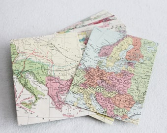Recycled Map Envelopes / Historical Map Envelopes / set of 10, 4.5 x 6 by PrairiePeasant