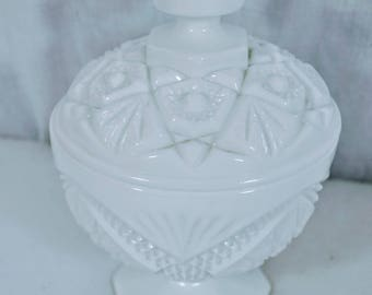 Vintage Imperial White Milk Glass Covered Candy - Footed Compote - Star and Cane Pattern