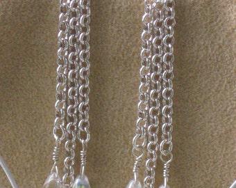 Earrings Sterling Silver filled Rolo Chain/Sterling silver ear wire/Czech glass tear drops