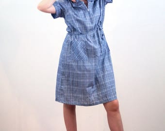 Zinovia, 70s Shift Dress XL, Blue Plaid Dress, Zip Front Dress, Vintage Day Dress, House Dress, Knee Length Retro Dress, Casual Rockabilly