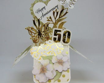 50th Anniversary Pop Up Box Card - Golden Wedding Anniversary - Card in a Box