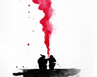 Old love painting 8x12in 21x30cm  - A4 canvas sheet -  ink  art - black silhouettes and red smoke 2