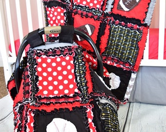 Car Seat Canopy Sports Rag Quilt Blanket - Red / Black Baby Boy Custom Sports  - Boy Car Seat Canopy - Football Quilt - Baseball Baby Quilt