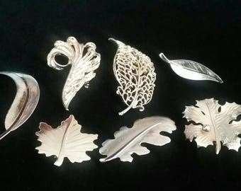 Lot of 7 Brooches, Pin, Vintage Jewelry, Vintage Gold Tone Leaf  Brooches, Lot of Brooches, Lot of Jewelry, Leaf Brooches, Autumn Jewelry