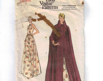 1970s Vintage Sewing Pattern Vogue 8725 Misses Cape and Evening Dress Gown Knit Size 8 Bust 31 32 70s