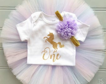 Unicorn First Birthday Outfit Girl, Baby Unicorn Outfit, Baby Tutu Dress, Tulle Skirt, Baby Headband, 1st Birthday Outfit Girl, SEWN Tutu