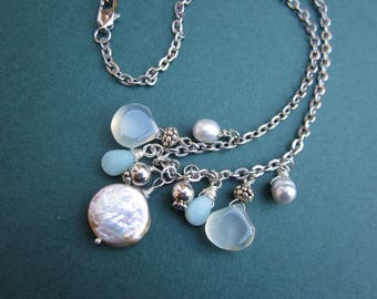 Mermaid cluster necklace with pearls, chalcedony, amazonite, sterling wirework and stainless steel chain