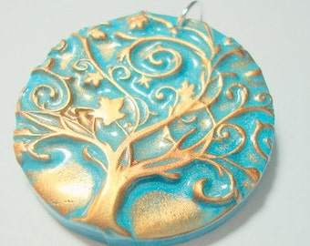 Turquoise and Bronze Twirling Tree of Life Handmade Polymer Clay Pendant