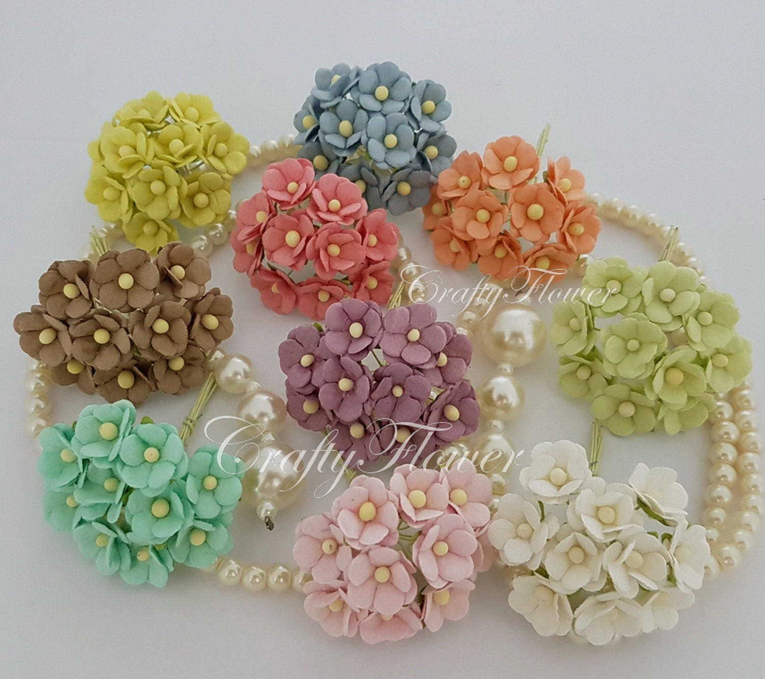 100 variations listing of small mulberry paper flowers for for Small flowers for crafts