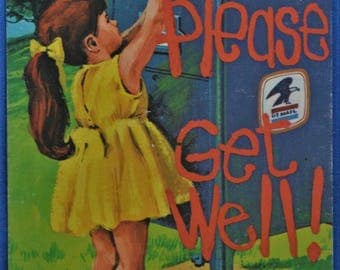 Please Get Well Little Girl Drops Letter in Mail Box Standard Postcard