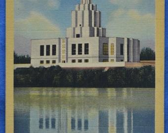Mormon Temple Idaho Falls Linen Postcard Unused