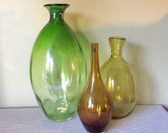 Glass Vase Flat Top Hand Blown Bulbous Body green brown yellow  Art Glass Centerpiece LARGE Vessels set of three collection