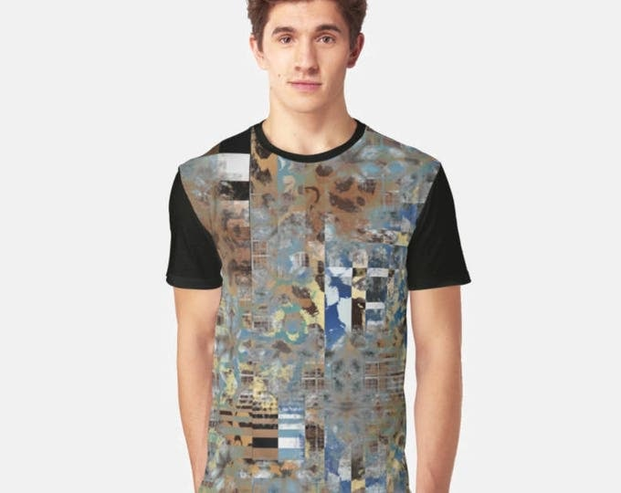 Men's Black Panel T-shirt with Modern Animal Print Burn Out Geometric Print Front Graphic