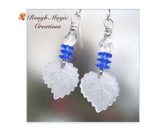 Blue and White Leaf Earrings, Hanukkah or Christmas Gift for Women, Sterling Silver, Holiday Jewelry Present for Her Stocking Stuffers  E177