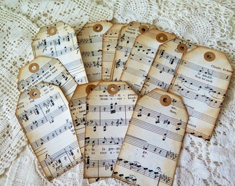 Vintage Sheet Music Junk Journal Tags - set of 10 - 2.5 x 4.5 - Ephemera - Scrapbook - Junk Journal Embellishment - Manila  Folder backing