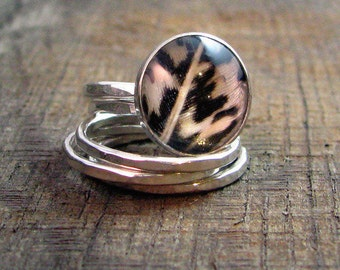 Sterling Stacking Ring Set with Pheasant Feather - MADE TO ORDER