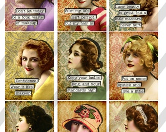 Makeup, Beauty Ladies Digital Collage Sheet 2.5 X 3.5 ATC Sized Images (Sheet no. FS293) Instant Download